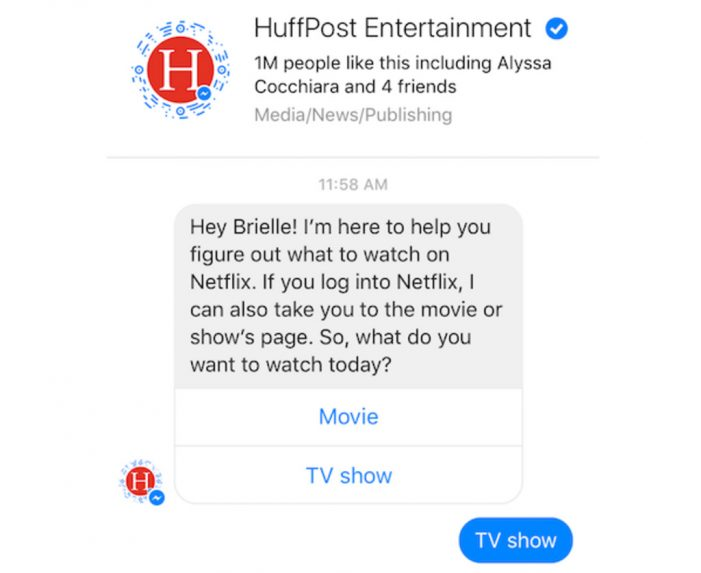 Huffington Post's chatbot tells Netflix viewers what to watch next
