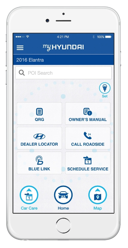 HYUNDAI LAUNCHES NEW ALL-IN-ONE OWNER'S APP TO ENHANCE CUSTOMER EXPERIENCE - Hyundai is debuting a new mobile app for owners called MyHyundai with Blue Link. The new app integrates services currently available in the previously separate Blue Link and Car Care mobile apps. (PRNewsFoto/Hyundai Motor America)