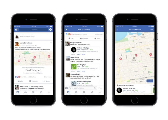 New Facebook tools allow for easier dining recommendations, ticket sales and scheduling