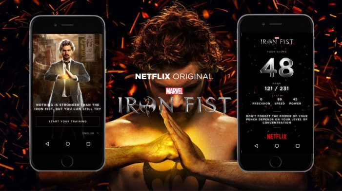Netflix launches the Iron Fist Challenge, a mobile experience that lets fans test their strength