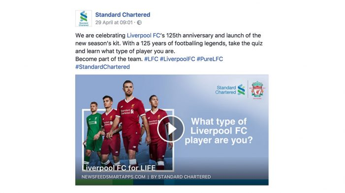 Octagon Singapore & Newsfeed SmartApps team to build excitement among Liverpool FC fans for Standard Chartered