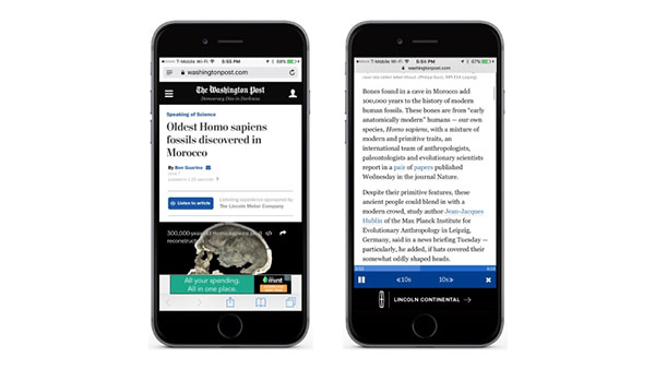 The Washington Post begins audio articles with Amazon's speech tech