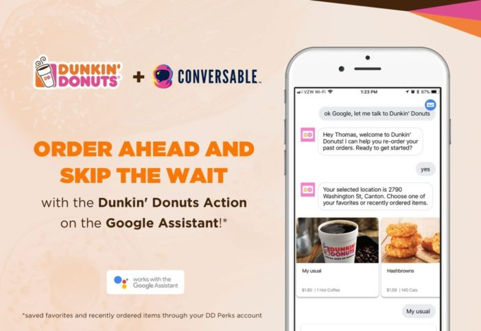 Dunkin' Donuts adds voice ordering through Google Assistant