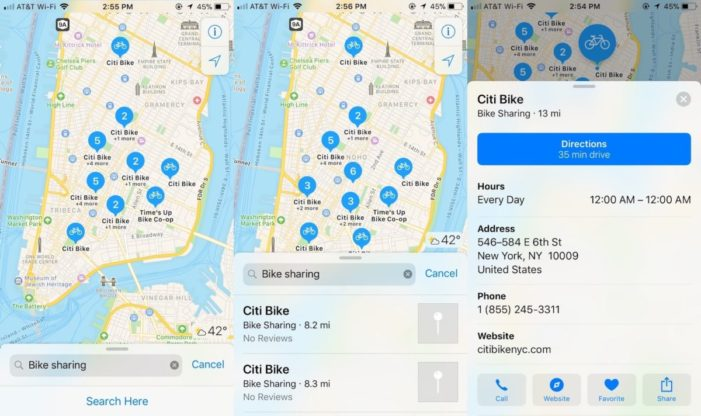 Apple Maps now includes bike-sharing locations in 179 cities