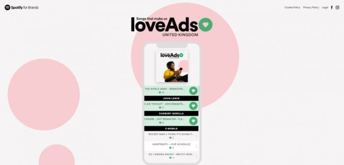 Spotify's #loveAds site invites marketers to build playlists of their favourite TV ad scores
